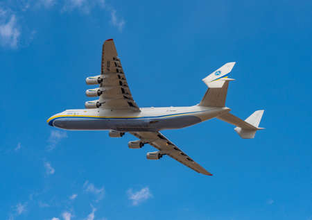 AN-225 Antonov Mriya departed from the Kyiv-Antonov-2 International Airport to perform commercial missions to fight the coronavirus. AN-225 is the world's largest transport aircraft. April 11, 2020 Editorial