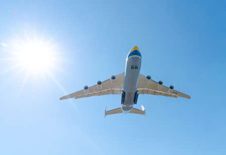 AN-225 Antonov Mriya landing the Kyiv-Antonov-2 International Airport after performing commercial missions to fight the coronavirus. AN-225 is the world's largest transport aircraft. April 23, 2020 Editorial