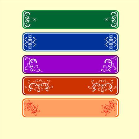 vector, sign, scroll, frame, design, set, banner, flower; leaf; spiral;