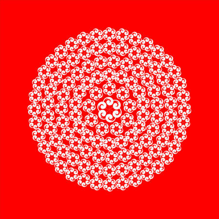 white lace flower on red Illustration