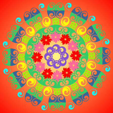 colorful pattern, different objects in a circle