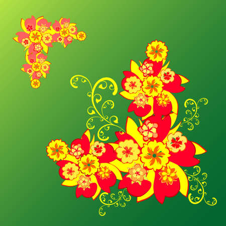 red and yellow flowers on a green background