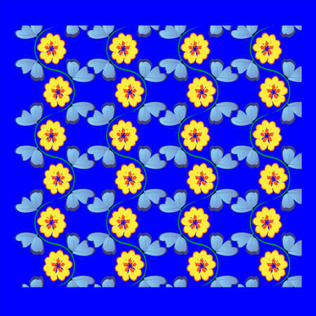 butterfly and flower petals in a clear manner,blue butterflies and yellow-red flowers  Illustration