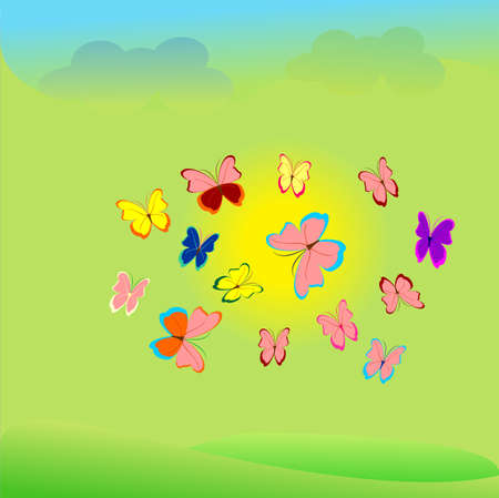 colorful butterflies fly around the sun,blue sky, blue clouds, green meadows Vector