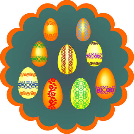 Easter eggs on a green background,beautiful background with eggs