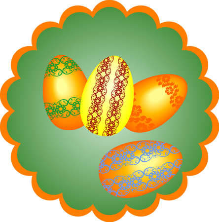 four eggs on a light green background,painted colorful patterned