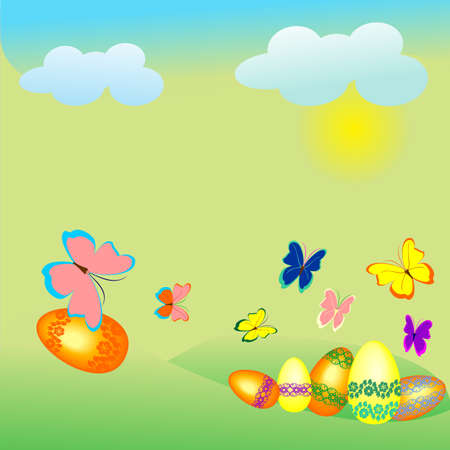 egg lay on the grass on a sunny day butterflies fly sun shines clouds float