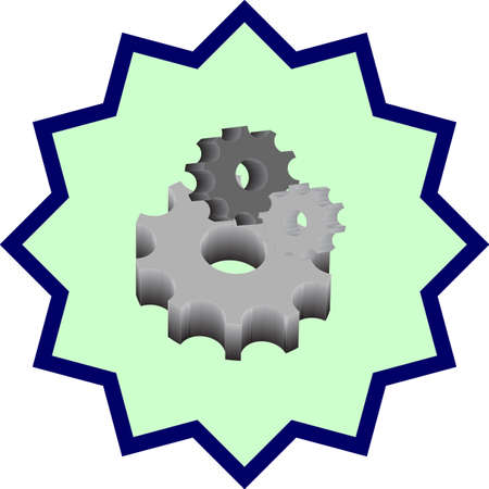 diminishing view: metal parts bearing are in a different orientation, metal parts bearing are on turquoise background Illustration