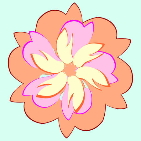 delicate design flower yellow pink,flower in a retro style