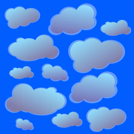 different clouds of blue and white,clouds for icons and labels Illustration