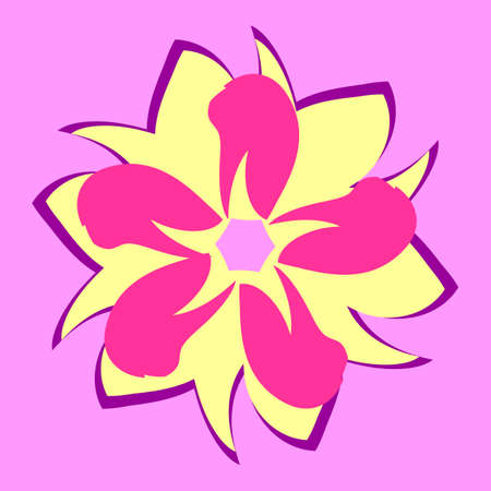 on purple background beautiful flower,petals of different shapes in a circle Illustration