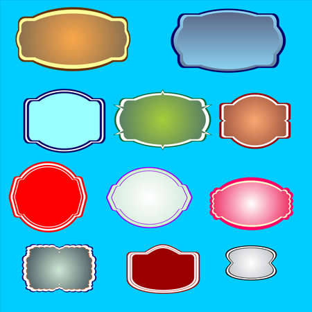 different shapes and sizes Colorful stickers, labels, bubbles