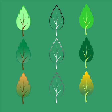 birch tree icon winter spring summer fall Illustration