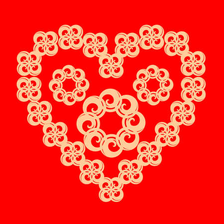 beautiful flowers in the shape of a heart on a red background