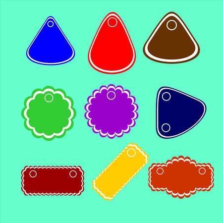 colorful stickers, labels, price tags,different shapes and sizes