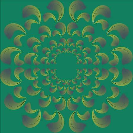 symmetric background of green petals, seamless texture, vector Illustration