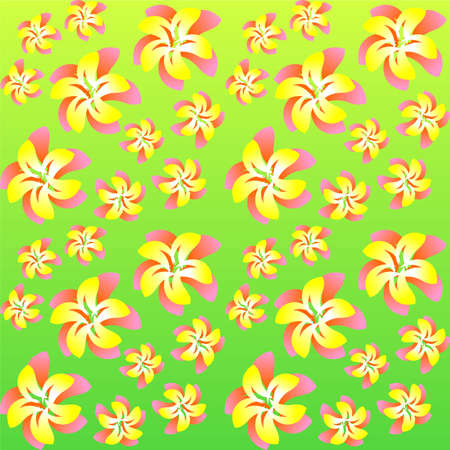 bright flowers on a seamless background, vector Illustration