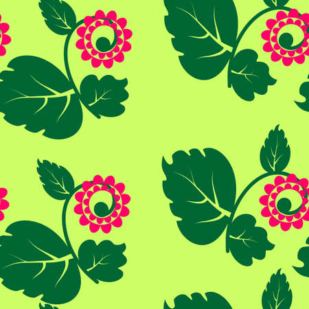 seamless texture with flowers and green petal. Vector illustration