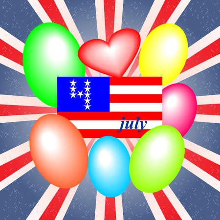 Fourth of July, Independence Day, background with elements of the national flag