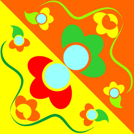 the same cartoon flowers on contrasting colors Illustration