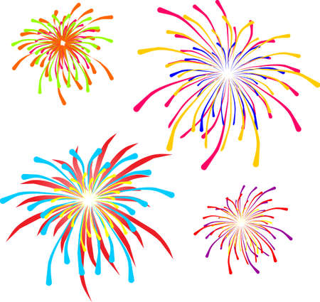 fireworks, Independence Day, July 4, white background Vector