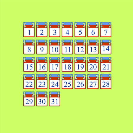 vector set of icons for calendar days Laptop