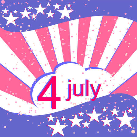 U.S. Independence Day, July 4, the background with the national flag Illustration