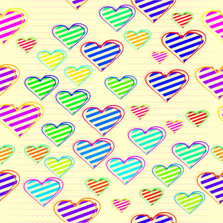 wavy lines on the background of the heart with stripes