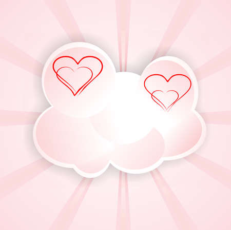 background animated cartoon cloud with hearts in luminous rays   Illustration