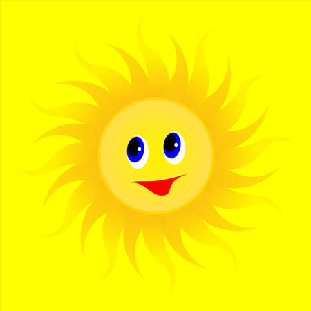 animated cartoon summer sun, the sun with a smile rays in different directions