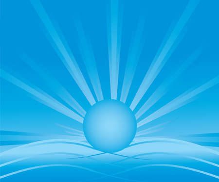abstract blue background with a radiant sun, sea waves