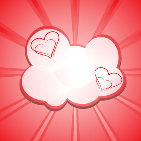 pink heart in the clouds on a background of glittering rays