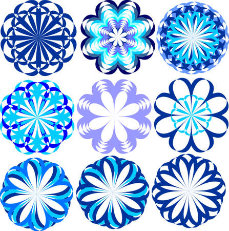 blue flowers snowflakes, variety of blue flowers for design