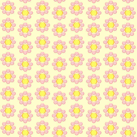 simple pink flowers on a yellow background, retro style