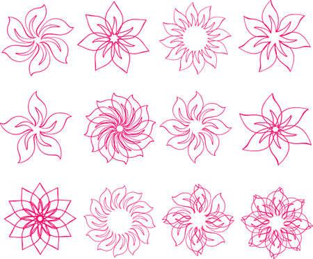 set of pink flowers, petalled flower design elements Illustration