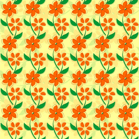 Seamless texture with flowers and green petal illustration Illustration