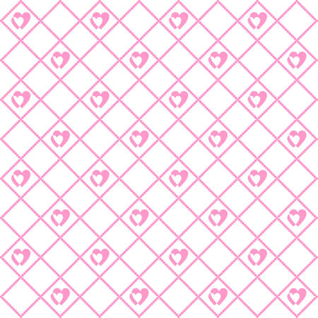 Seamless geometric pattern with hearts. Vector repeating texture Illustration