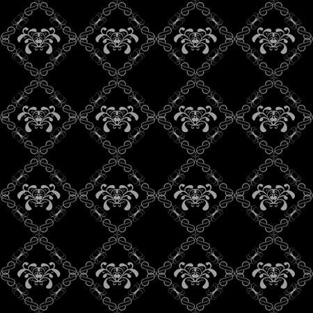 seamless floral pattern, black and white pattern