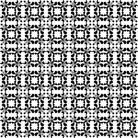 Black and white seamless floral vintage wallpaper