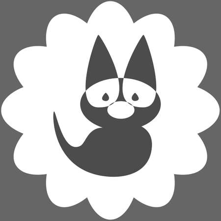 icon funny little creature with big ears and a tail Vector
