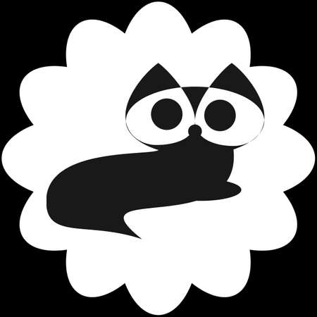 template icon recumbent black cat with big eyes