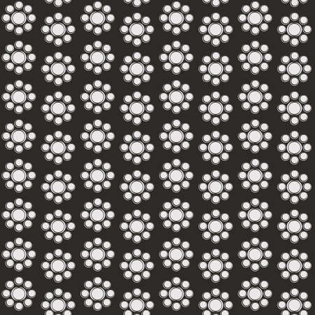 Retro black and white seamless background with flowers
