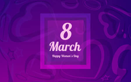 8 March greeting card template. International Womens day background or brochure template, hearts an a bow Ilustrace