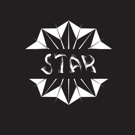 Retro abstract poster with t shirt star slogan for print design.