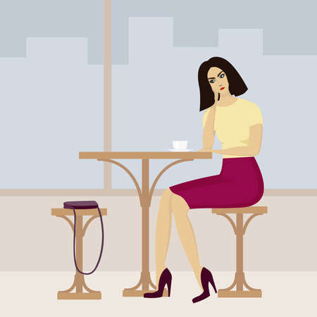 Vector image of young woman in cafe Vector