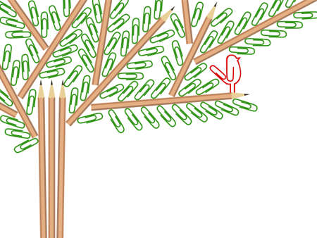 Vector illustration of a tree comprised by pencils and paper clips Illustration