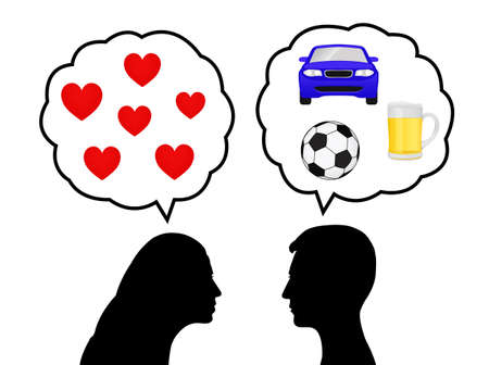 Silhouettes of a young woman thinking of love and a young man thinking of cars, drink and soccer Stock Vector - 14088200