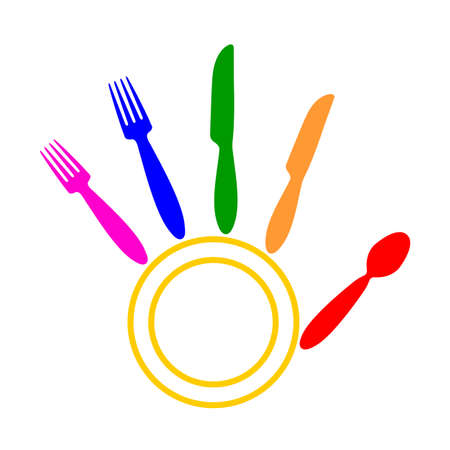 Knives, forks, spoon and plate forming a hand palm Ilustração