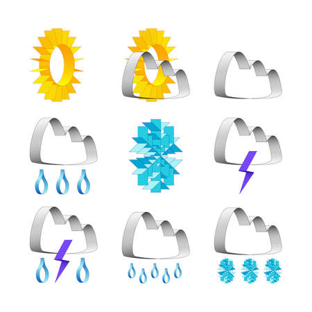 weather icons in techno style on white background
