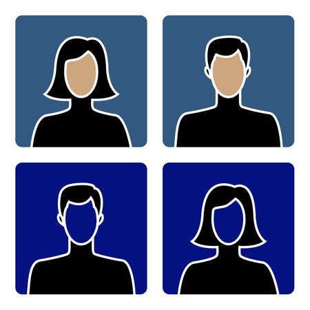 Faceless male and female avatar icons, flat design Illustration